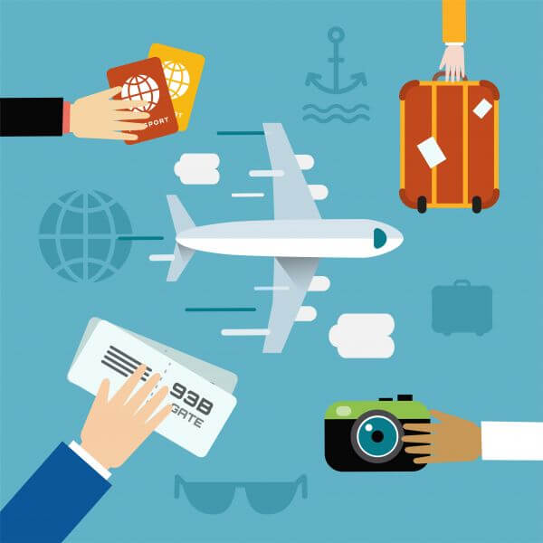 Free vector illustration of airplane flying and some travel tools vector