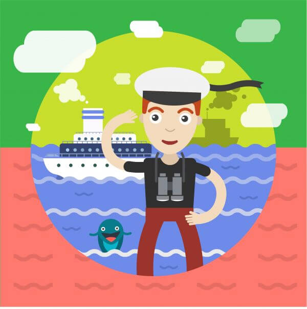 Free vector illustration of sailor and some ship and landscape vector