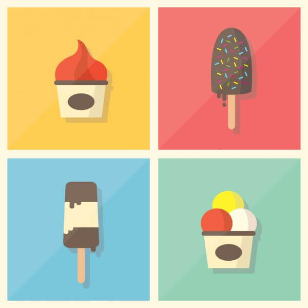 Retro Vintage Flat Ice Cream Collection vector