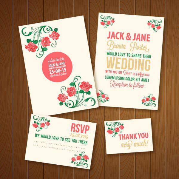 Wedding invitations template vector