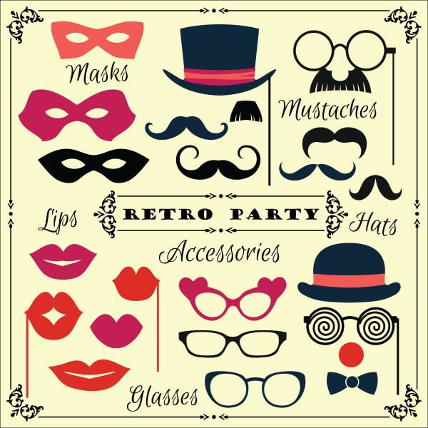 Accessories for fun retro party. Vector illustration vector
