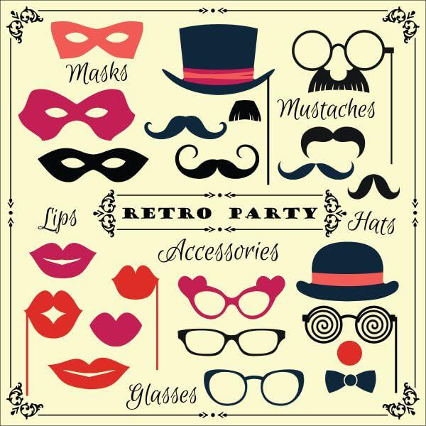 Accessories for fun retro party. Vector illustration vector