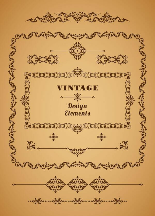 Set of Retro Vintage Frames and Borders. Design elements. vector