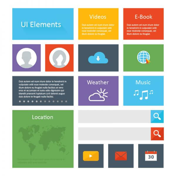Flat Ui Elements Design vector