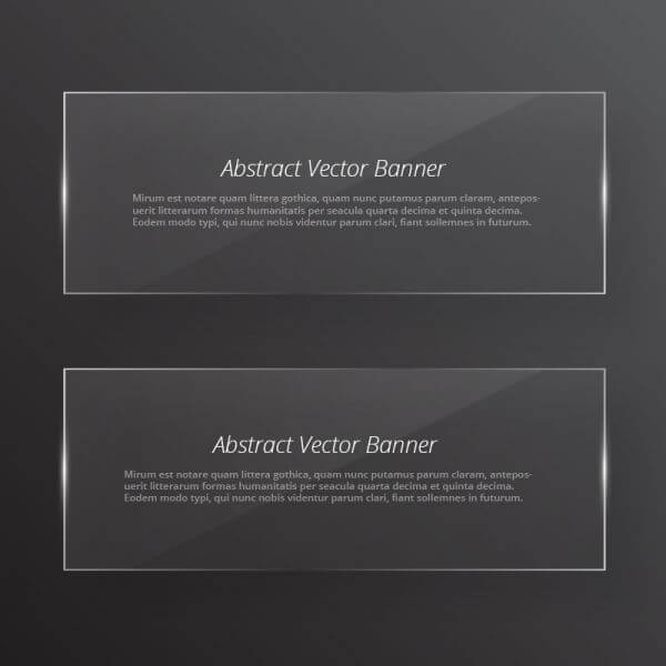 Transparent glass abstract banners vector