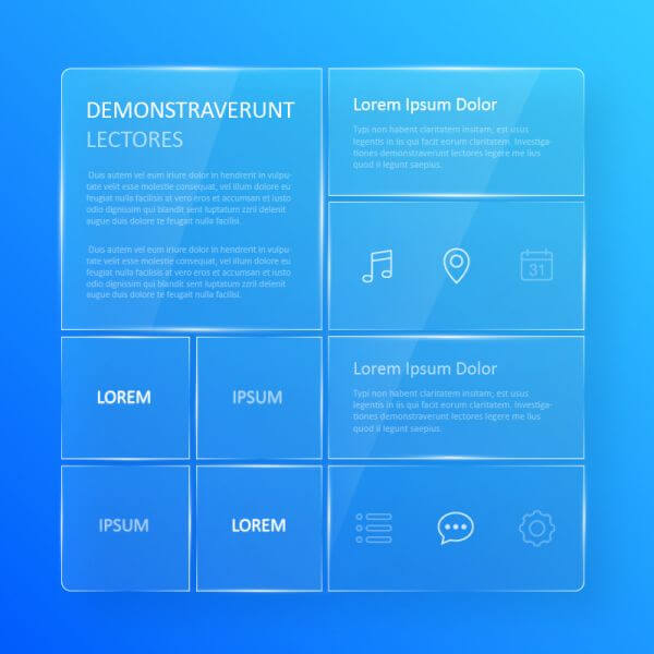 Transparent, blue glassy user interface  vector