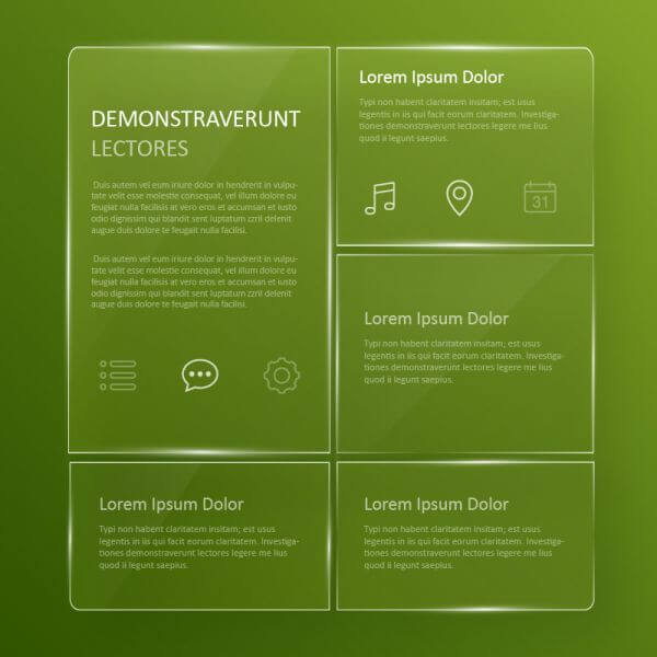 Transparent, glassy user interface  vector