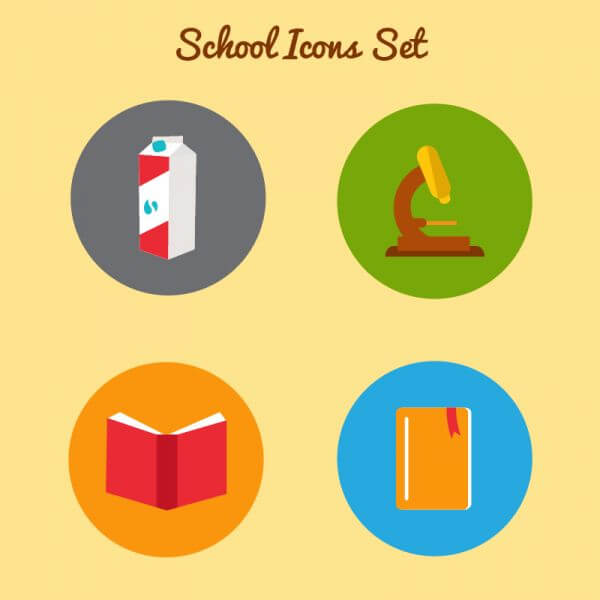 Flat school icon set vector