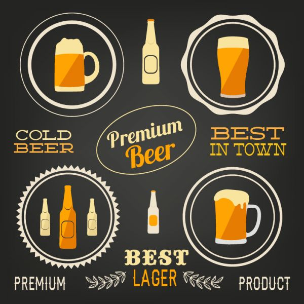 Beer vector elements, typo set vector