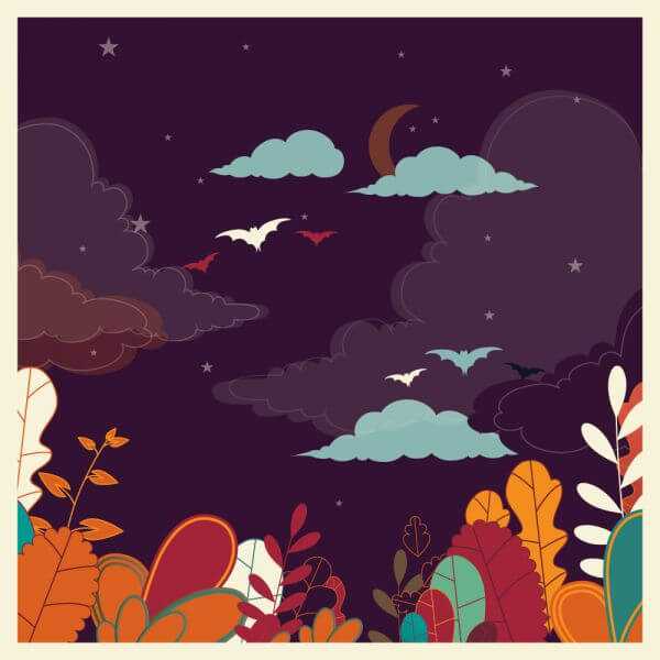 Landscape with flowers and bats vector