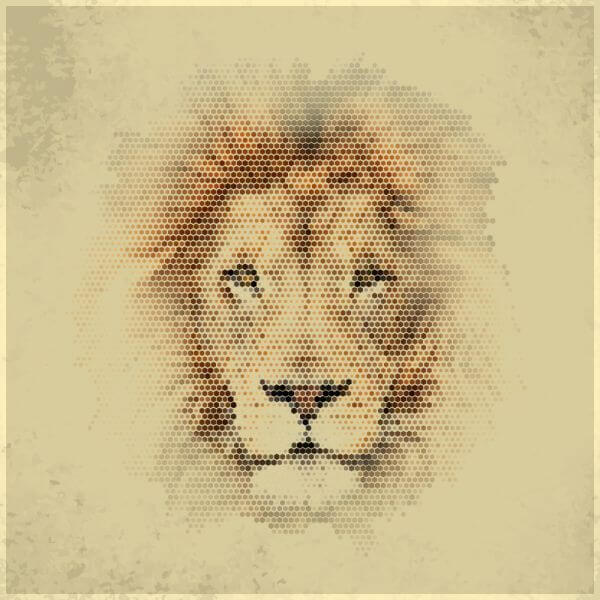 Vintage geometric lion vector