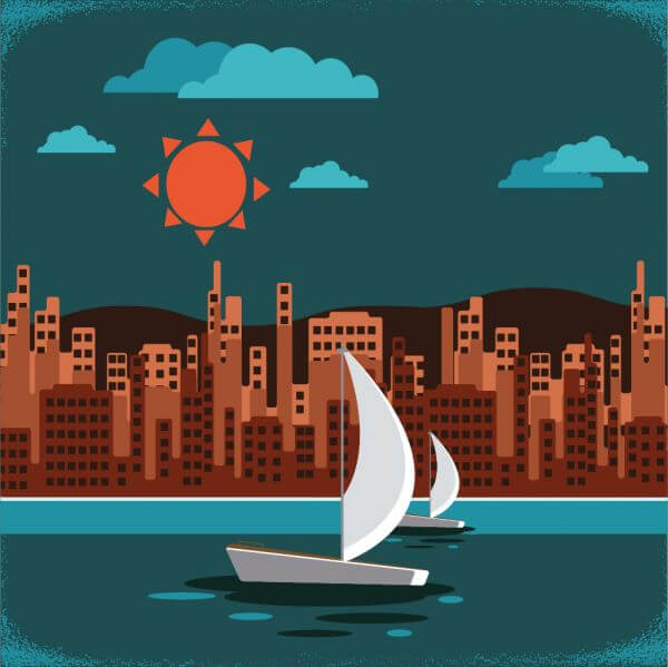 Retro city landscape vector