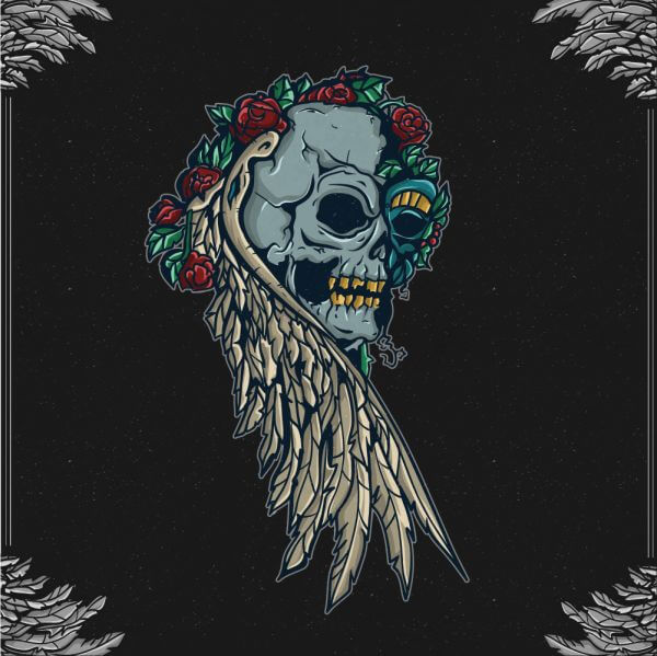 Vintage skull with floral ornaments and frame vector