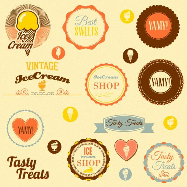 Retro badges and sweets vector