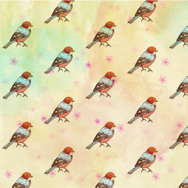Pattern with retro bird vector