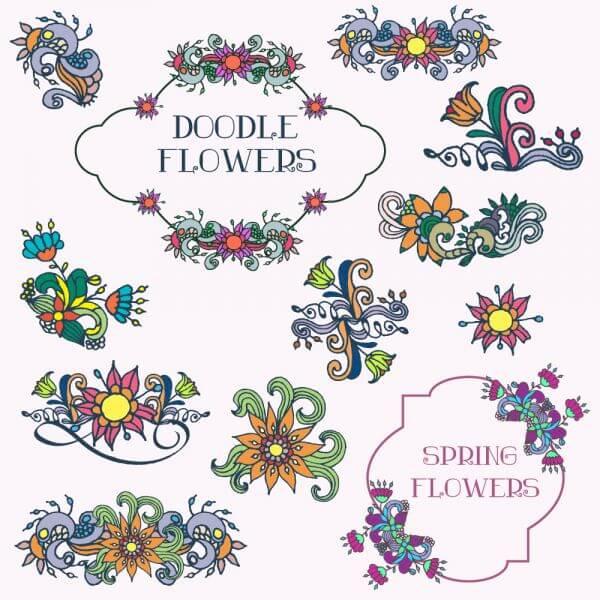 Doodle flower vector set vector