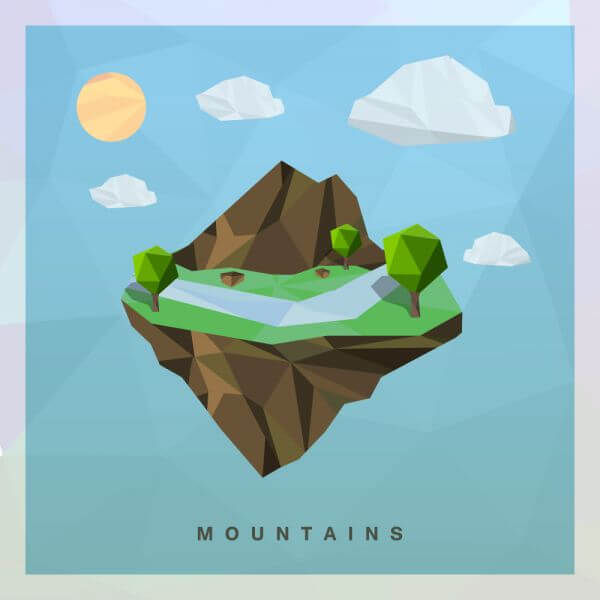 Isometric mountain Vector Floating Island vector