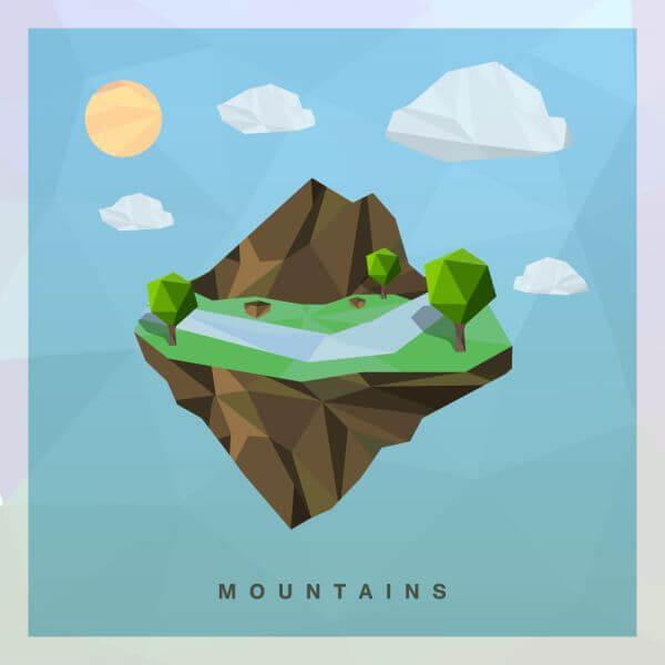 Isometric mountain Vector Floating Island vector