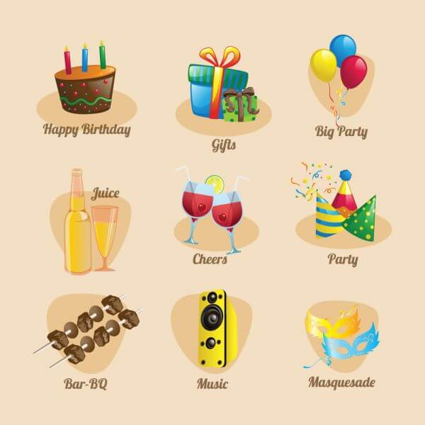 Party and birthday Icon Set vector