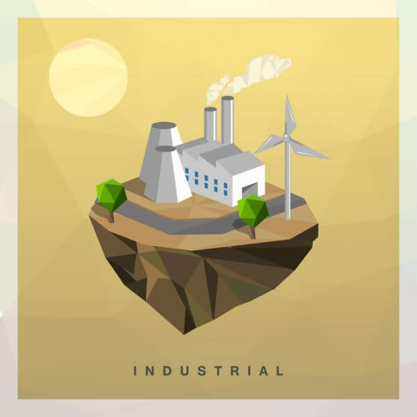 Isometric Industrial Vector Floating Island vector