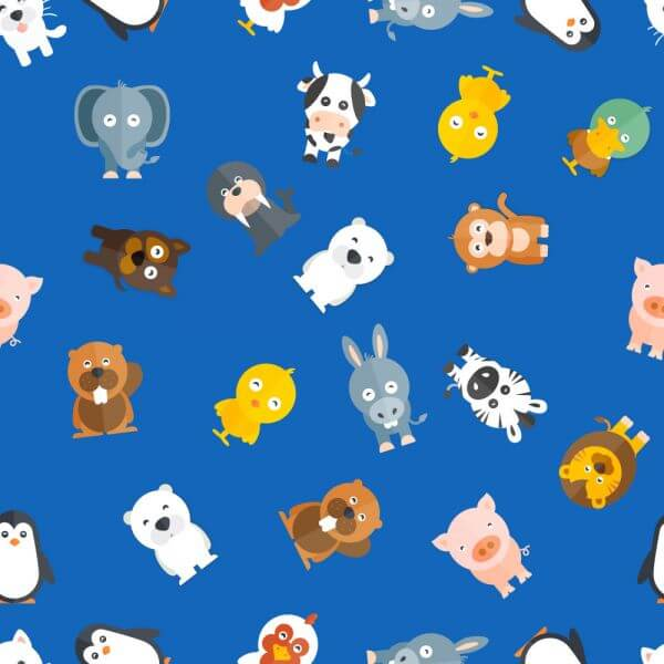 Pattern with baby animals vector
