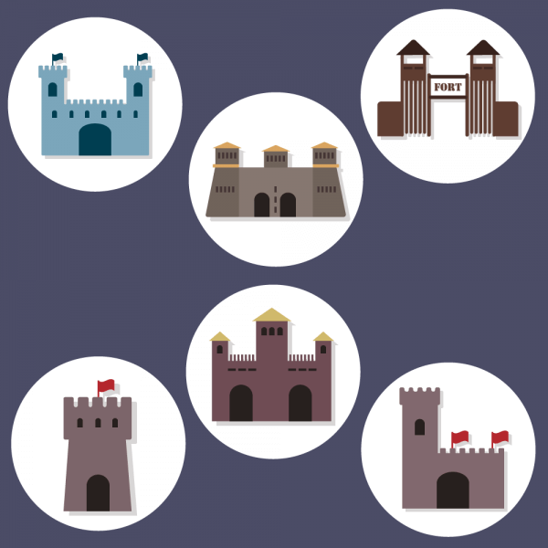 Flat Fort Icons vector