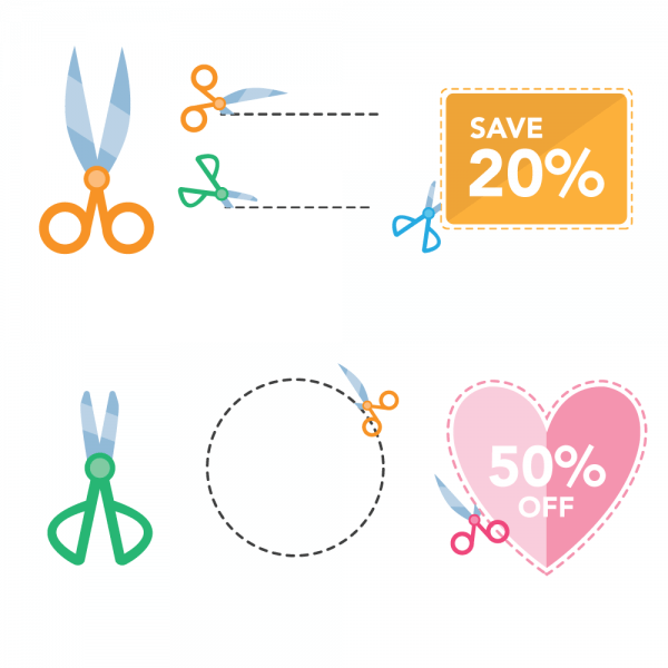 Scissor Coupons vector