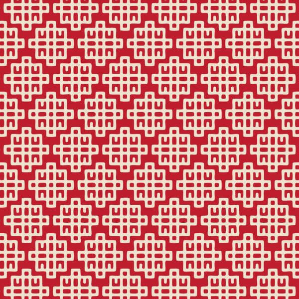 Asian Red and White Geometric Pattern vector
