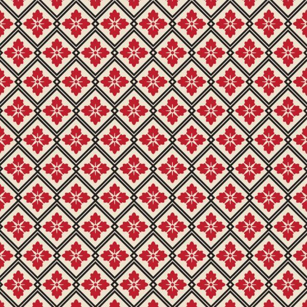 Asian Floral Red, White, and Black Pattern vector