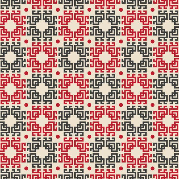 Asian Red, White, and Black Pattern vector