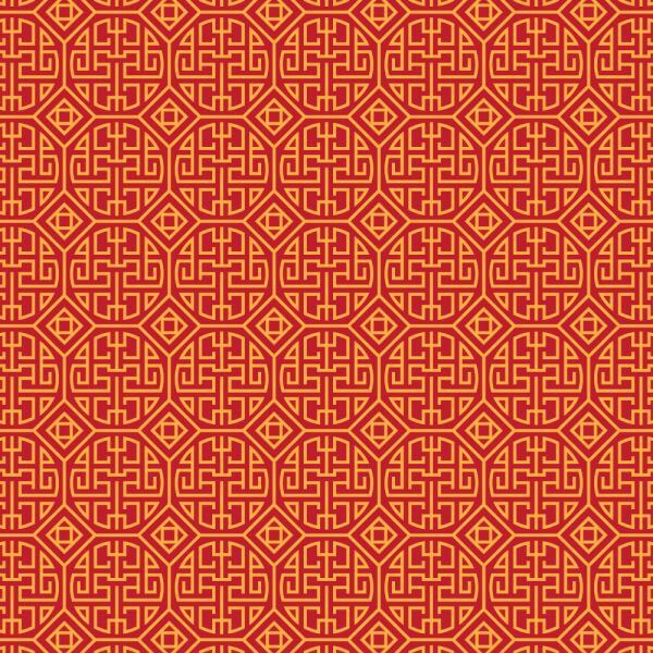 Asian Yellow and Red Pattern vector