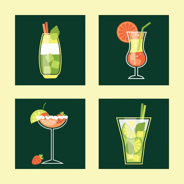 Cocktail Icon Set. Vector illustration vector
