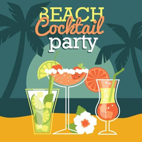 Beach cocktail party. Vector illustration vector