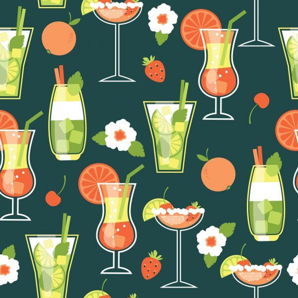 Summer Cocktails . Seamless pattern. vector