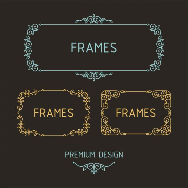 Vector outline frames. Elements design templates. vector