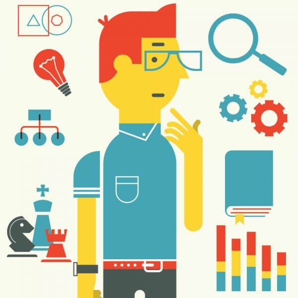 Smart guy with different elements vector