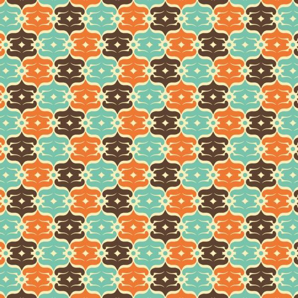 Retro Blue, Orange, and Brown Object Pattern vector