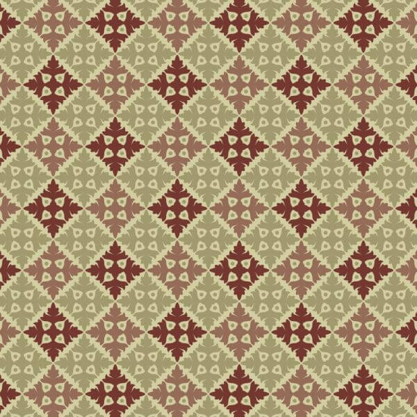 Ornate Vintage Green and Maroon Pattern vector