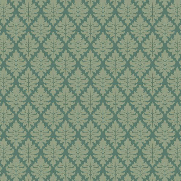 Ornate Floral Green on Green Wallpaper Pattern vector