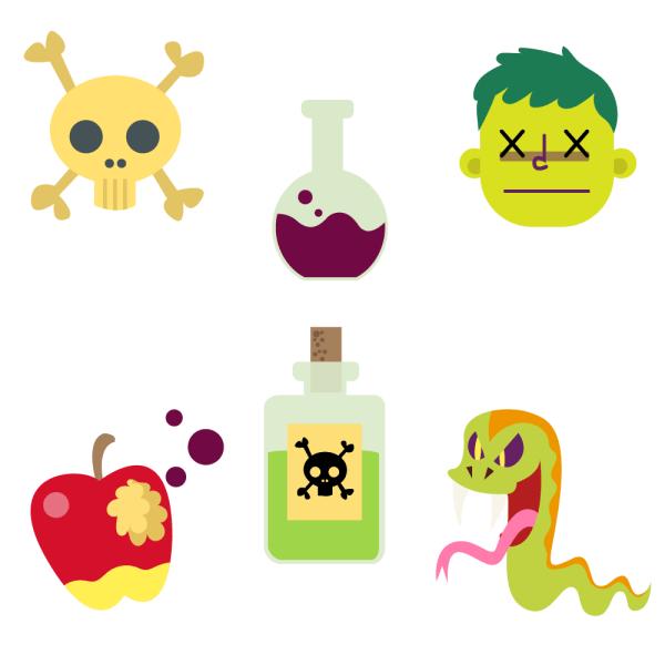 Cartoon Poison Vector Set vector