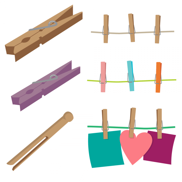 Clothespins Vector Set vector