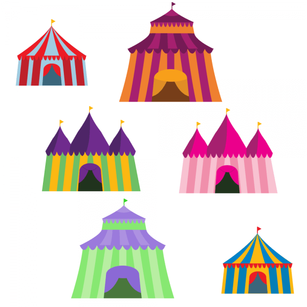 Colorful Big Top Vector Set vector