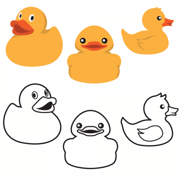 Rubber Duck Colors And Outlines vector