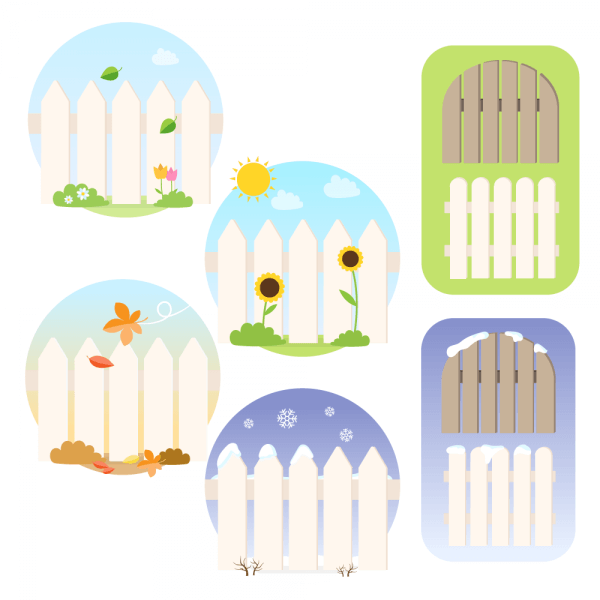 Seasonal Picket Fence Vectors vector