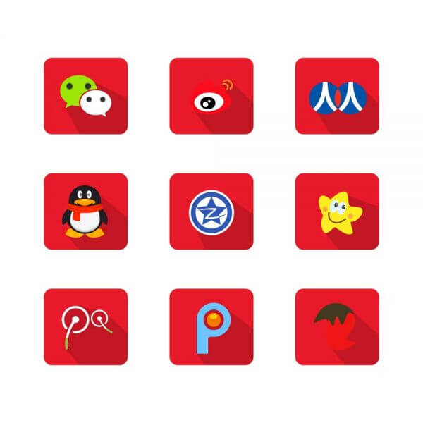 Chinese Social Media Icons vector
