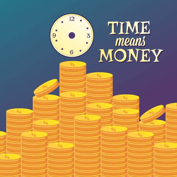 Money illustration with coins and clock vector