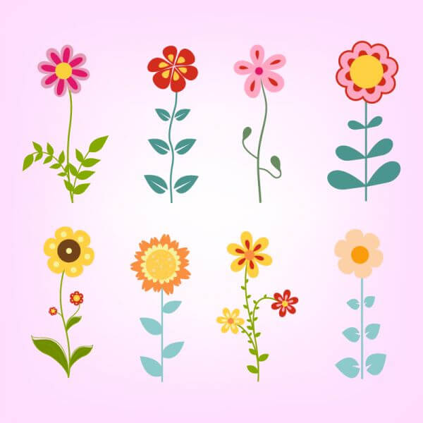 Hand drawn doodle flowers set vector