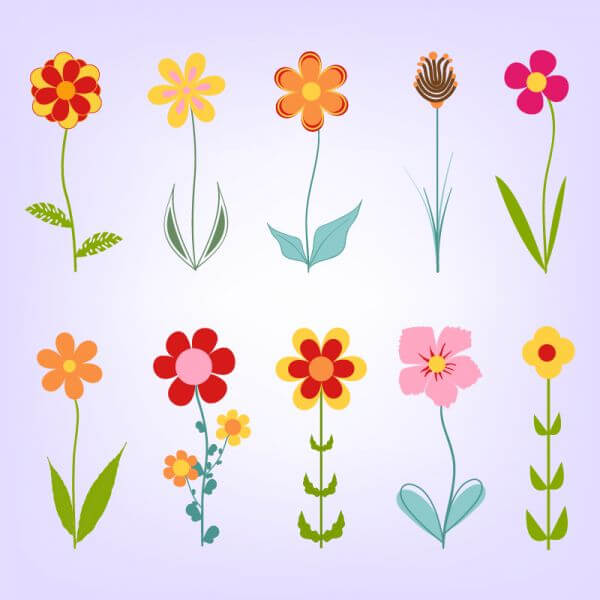 Hand drawn doodle flowers vector
