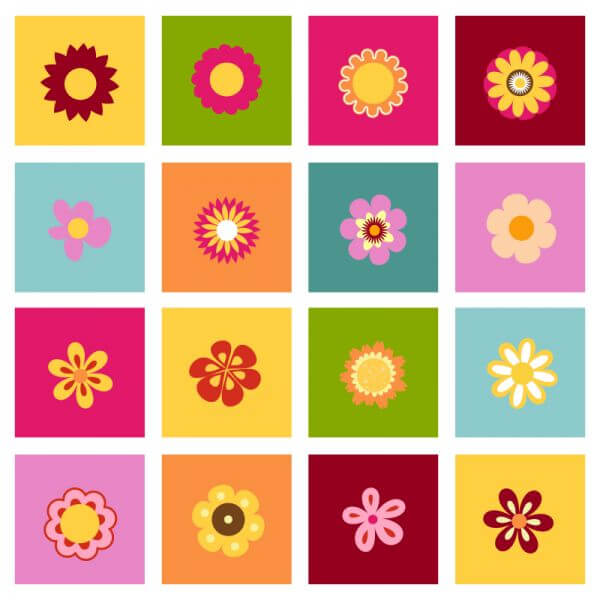 Set of flat icon flower icons vector