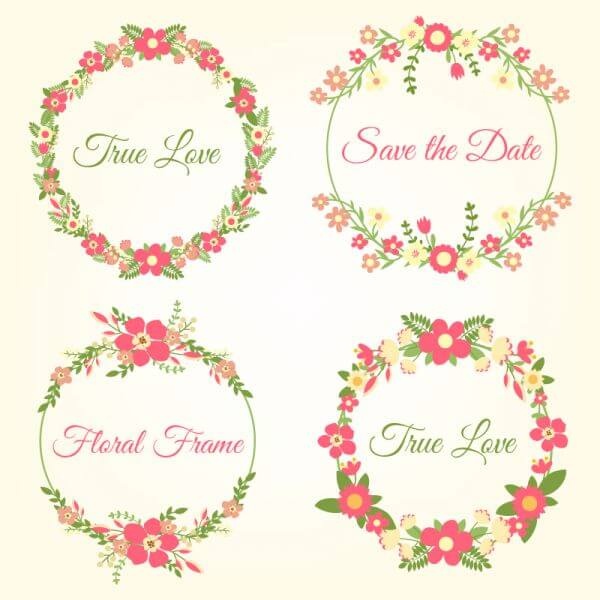 Wedding hand draw floral frames vector